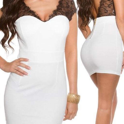 Mini vestido blanco con encaje transparente [3]