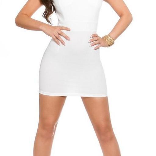 Mini vestido blanco con encaje transparente [2]