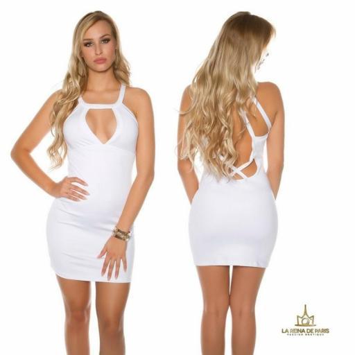 Mini vestido blanco espalda con recortes