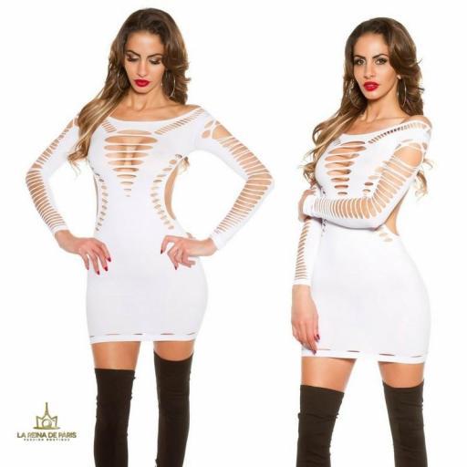 Mini vestido blanco con recortes  [3]