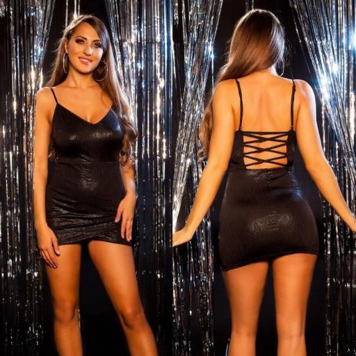 Mini vestido brillante de fiesta negro