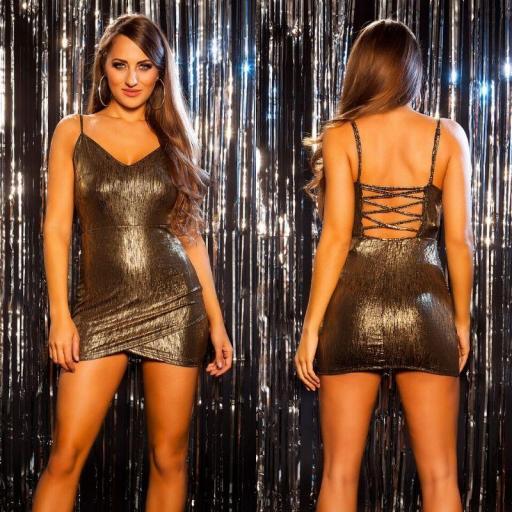 Mini vestido brillante de fiesta oro