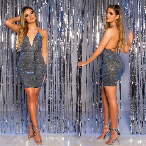 Mini vestido de fiesta azul brillante [1]