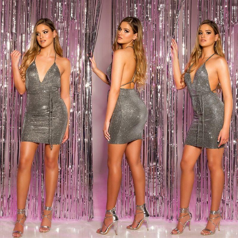 Mini vestido de fiesta plata brillante