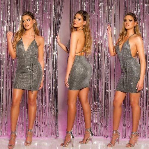 Mini vestido de fiesta plata brillante [0]