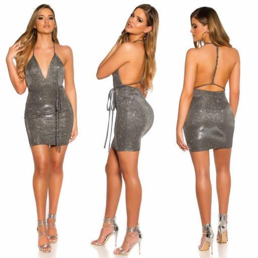 Mini vestido de fiesta plata brillante [3]