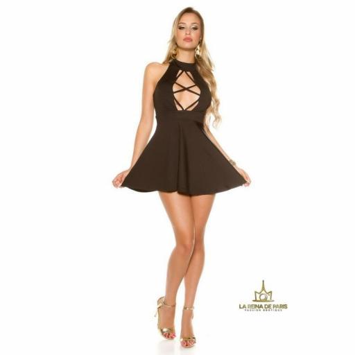 Mini vestido negro decoletté atractivo [3]