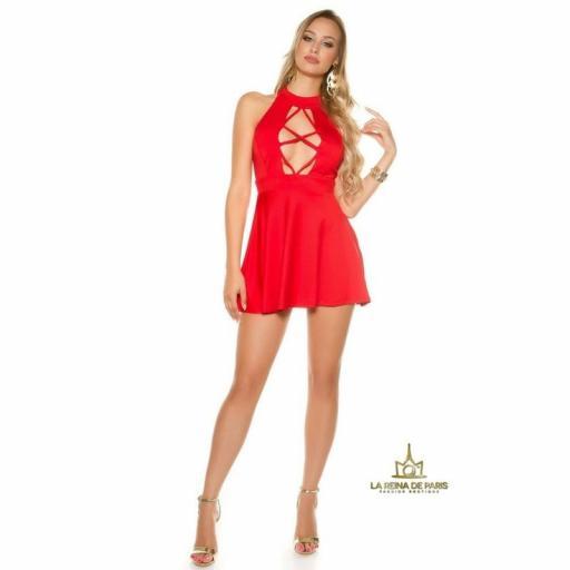 Mini vestido rojo decoletté [3]