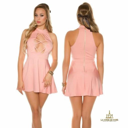 Mini vestido rosa de estilo decoletté