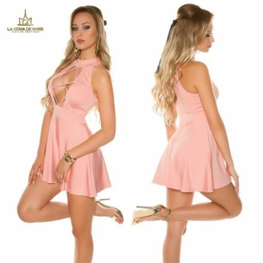 Mini vestido rosa de estilo decoletté  [1]