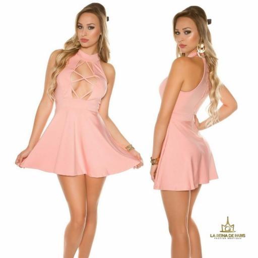 Mini vestido rosa de estilo decoletté  [2]