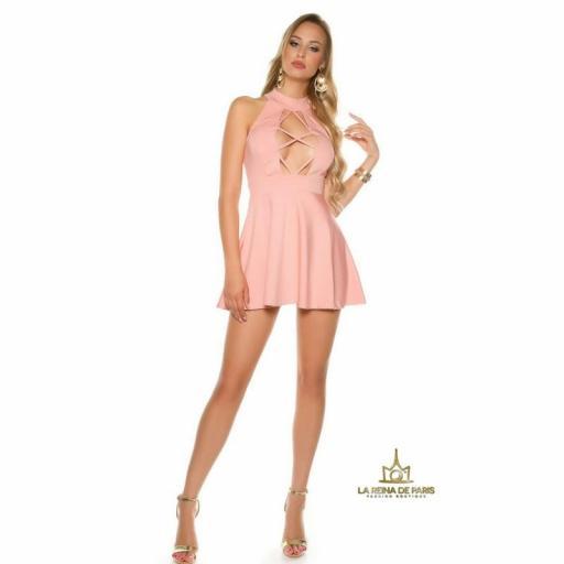 Mini vestido rosa de estilo decoletté  [3]