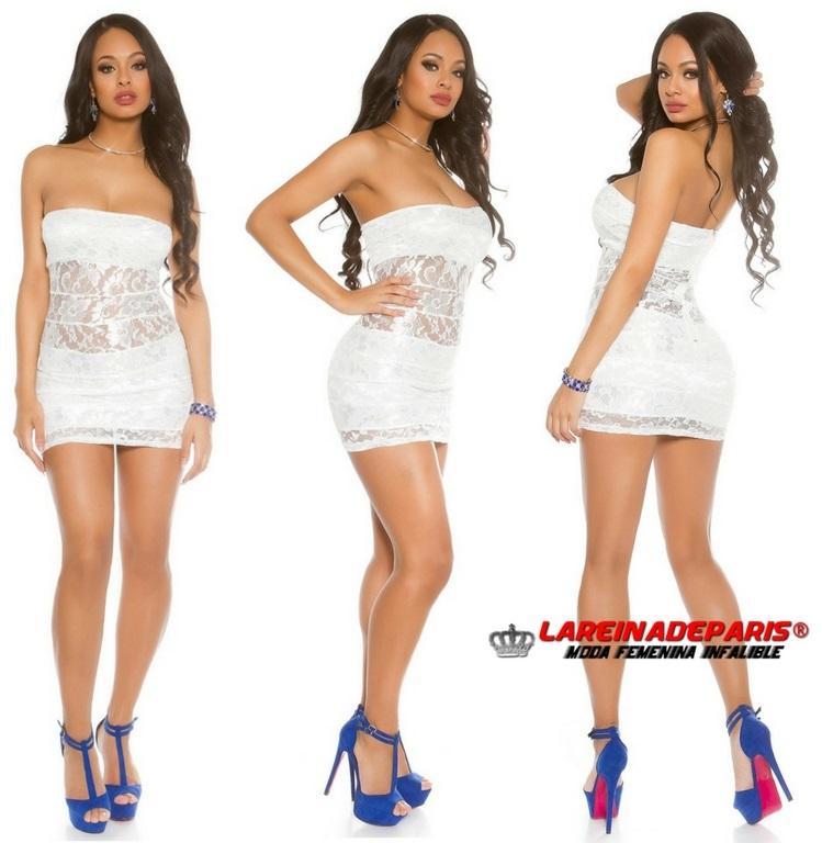 Mini vestido de encaje blanco entallado