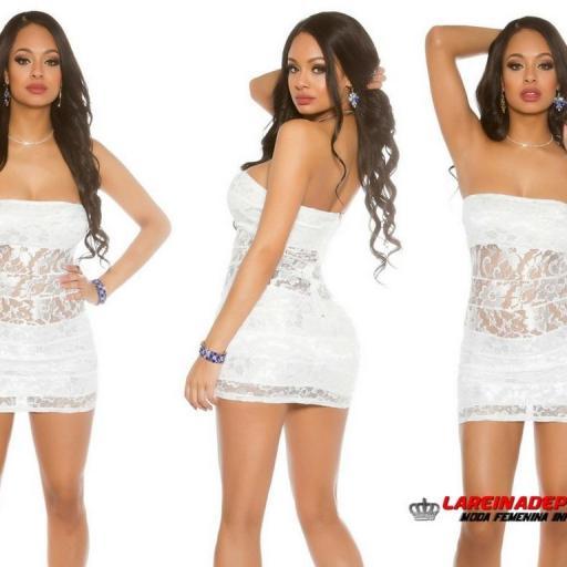 Mini vestido de encaje blanco entallado [1]