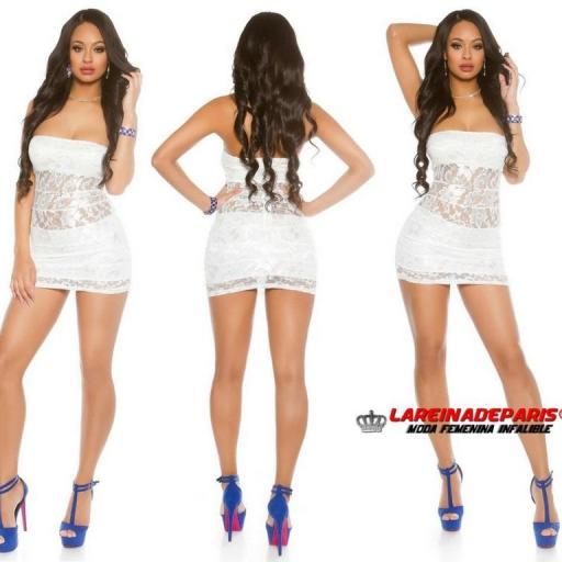 Mini vestido de encaje blanco entallado [3]