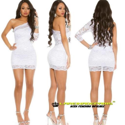 Vestido corto de encaje color blanco  [1]