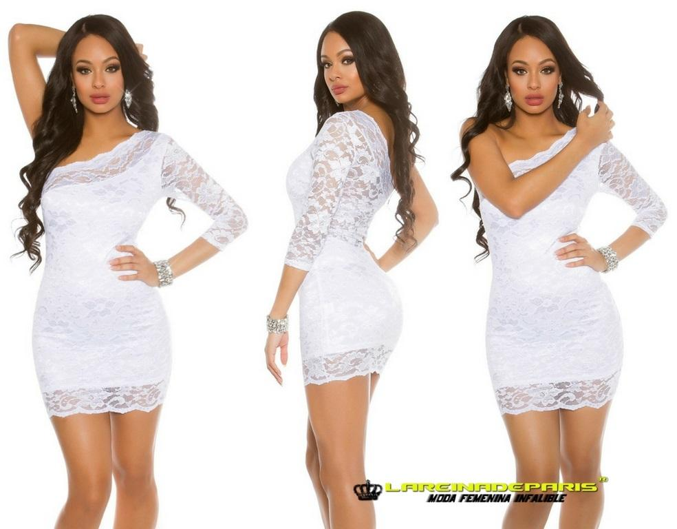 Vestido corto de encaje color blanco