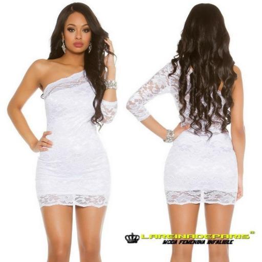 Vestido corto de encaje color blanco  [2]