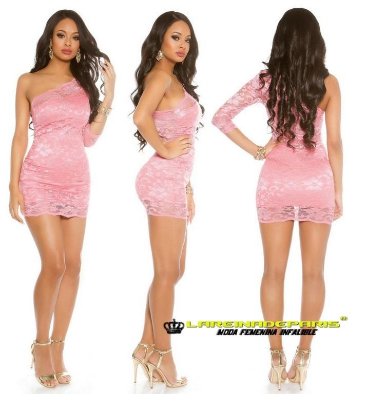 Vestido corto coral de atractivo encaje