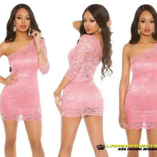 Vestido corto coral de atractivo encaje [2]