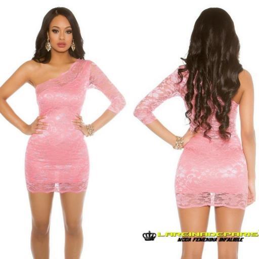 Vestido corto coral de atractivo encaje [3]