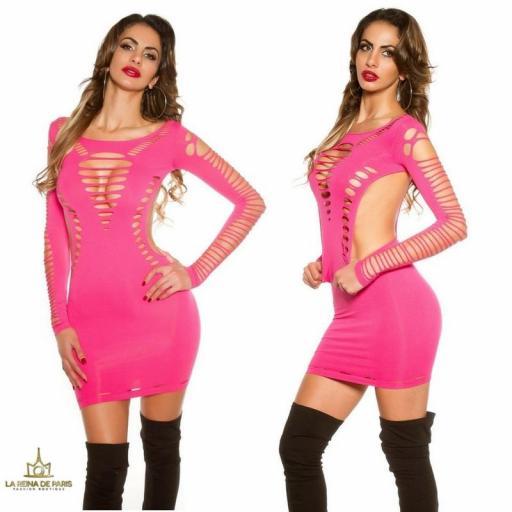 Mini vestido fucsia con recortes  [3]