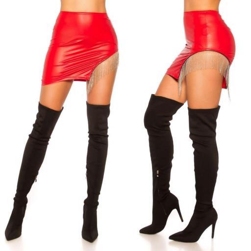 Minifalda cuero con flecos rojo