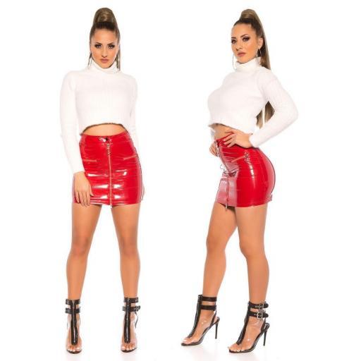 Mini falda rojo brillante con cremallera