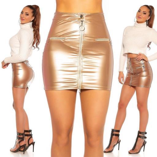 Mini falda oro brillante con cremallera