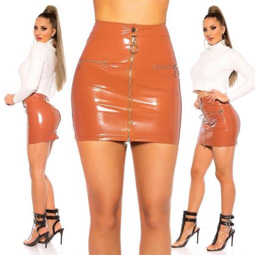 Mini falda bronce brillante sexy