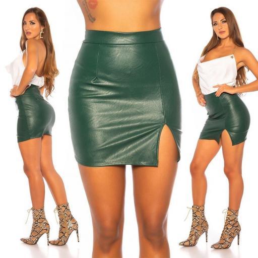 Minifalda cuero con abertura verde
