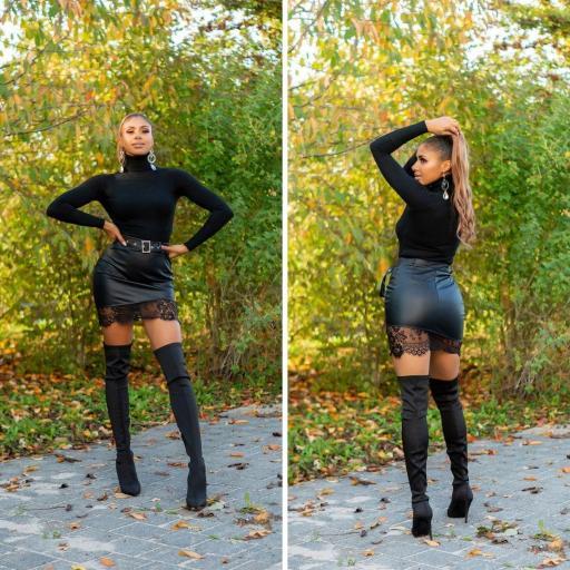 Minifalda cuero negro con encaje  [1]