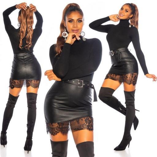 Minifalda cuero negro con encaje  [3]