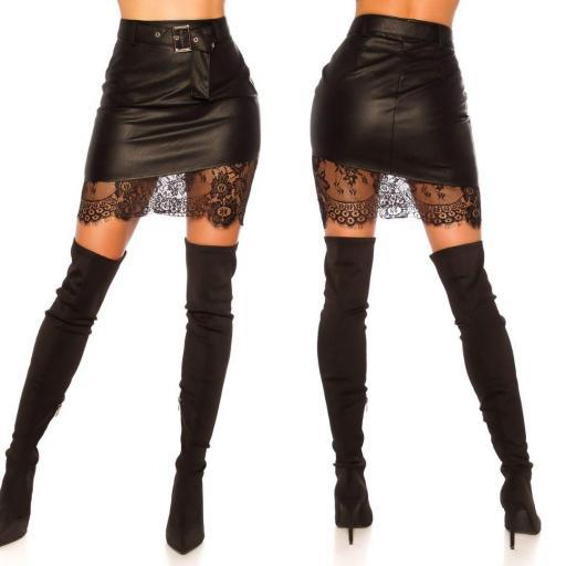 Minifalda cuero negro con encaje  [2]