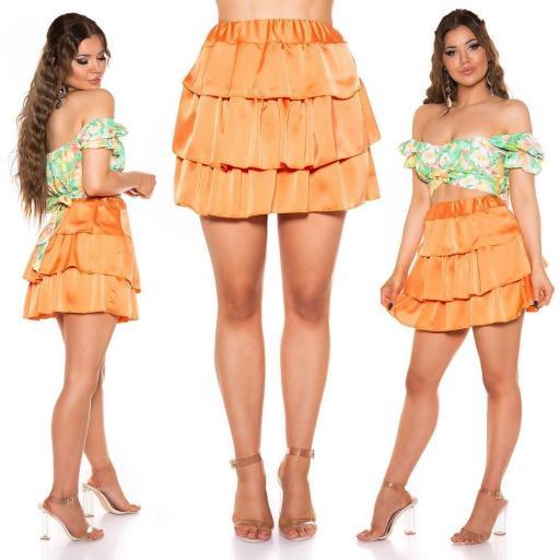 Minifalda satinada naranja