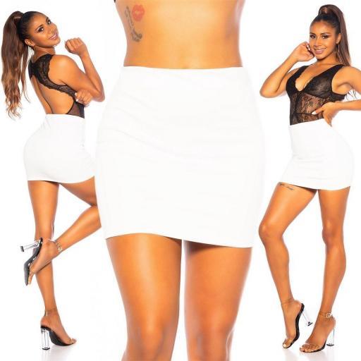 Minifalda banda elástica blanco