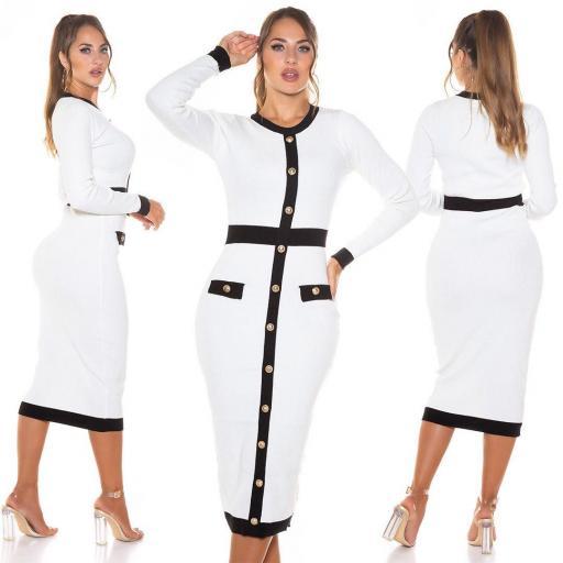 Vestido de punto con botones blanco