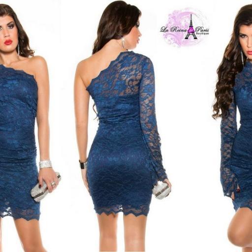 Vestido corto de encaje azul ceñido  [2]