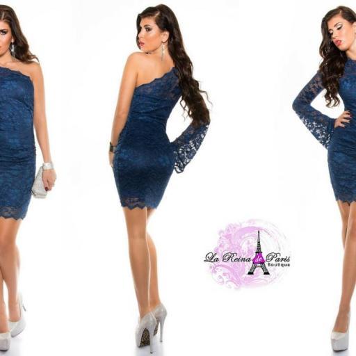 Vestido corto de encaje azul ceñido  [3]