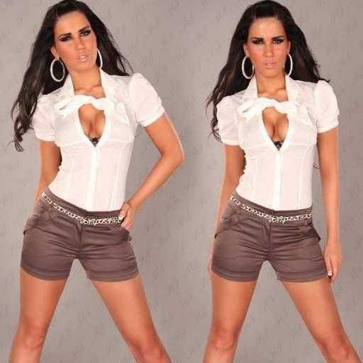 Pantalón corto ajustado descuento online [1]