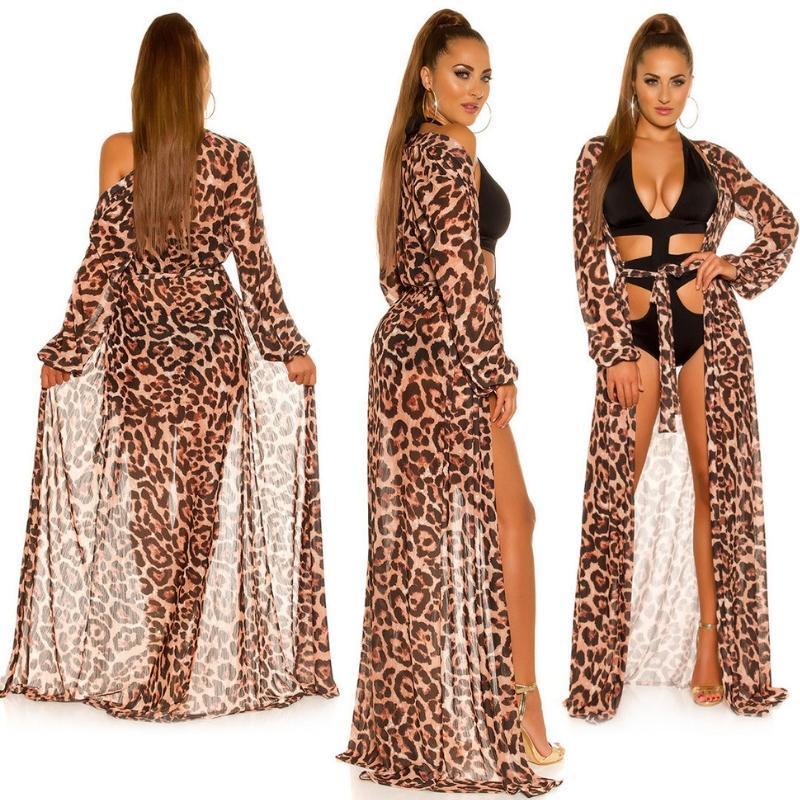 Kimono largo playero de leopardo