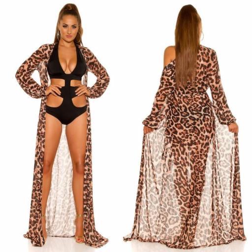 Kimono largo playero de leopardo  [1]