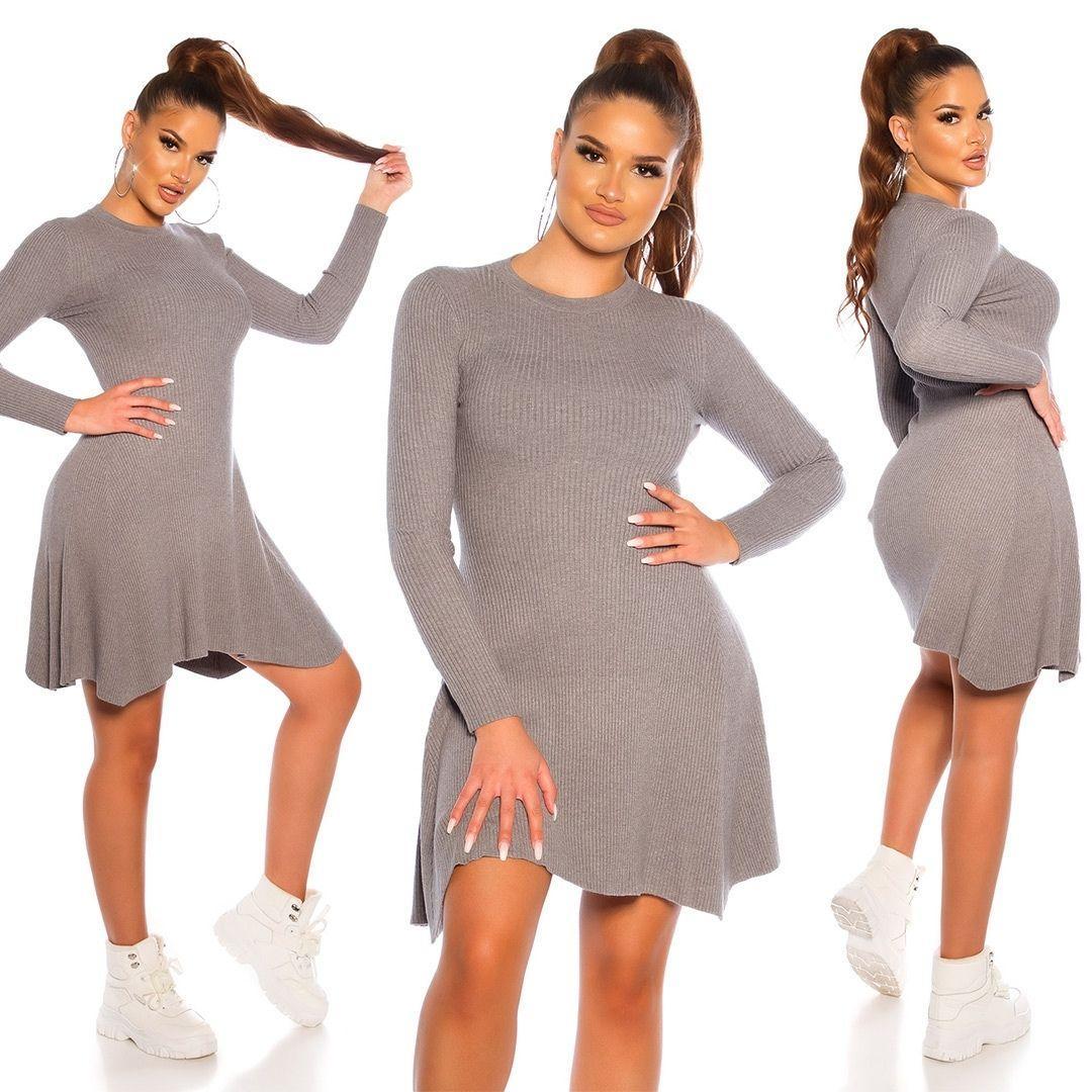 Vestido de punto acanalado gris