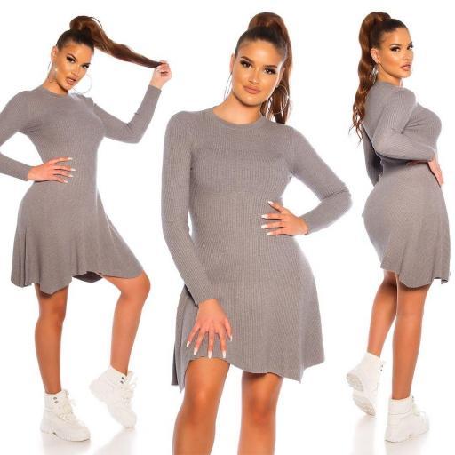 Vestido de punto acanalado gris [0]
