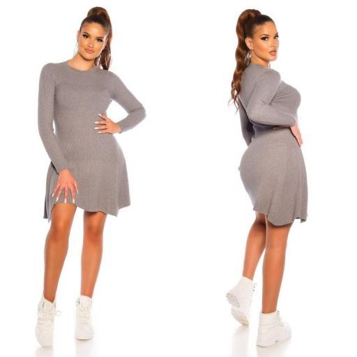 Vestido de punto acanalado gris [1]