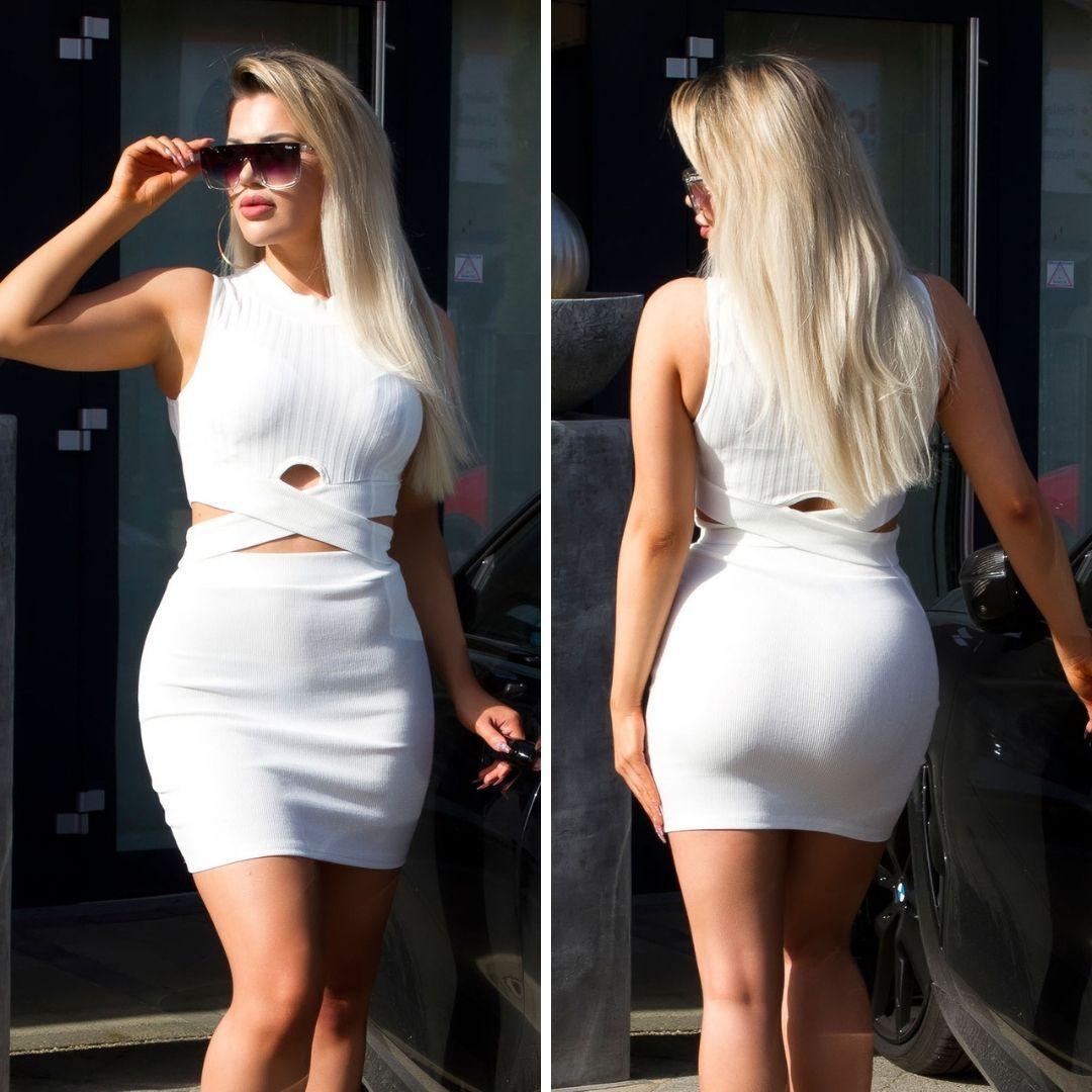 Conjunto de moda falda y top blanco