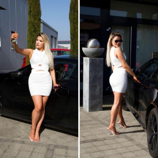 Conjunto de moda falda y top blanco [1]