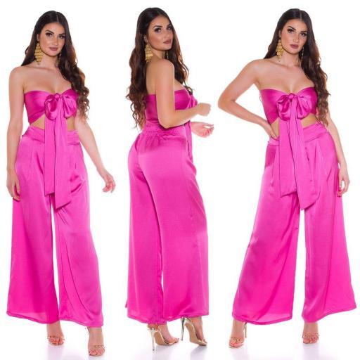 Conjunto pantalón y top bandeau rosa