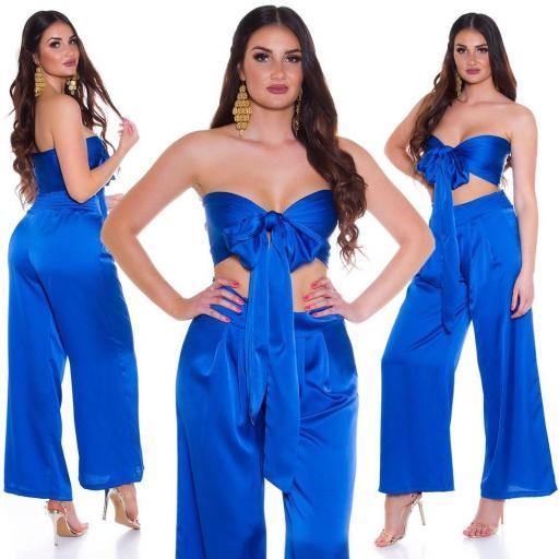 Conjunto pantalón y top bandeau azul
