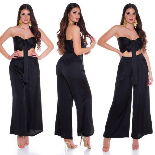 Conjunto pantalón y top bandeau negro